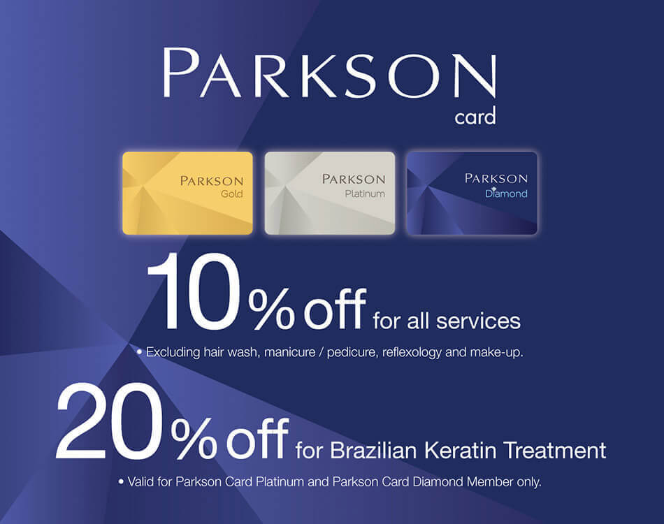Parkson card promotion on Brazilian Keratin Treatment at A Cut Above