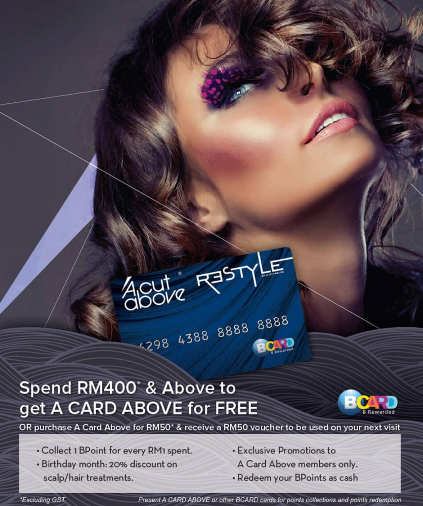 A Cut Above and Restyle promo card to get discounts and offers