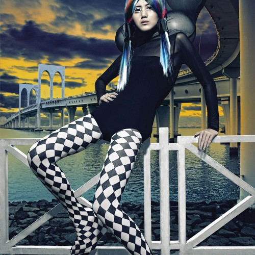 Futuristic picture of a female model with dyed hair