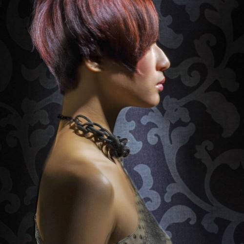 Model showing off her new short hair cut