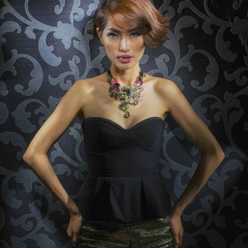 Model with short hair done by a hair stylist