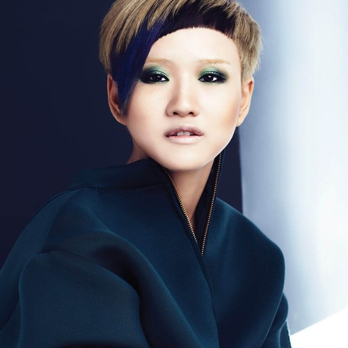 Asian model with short coloured hair